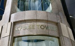 Chase Towers. Chase Tower is a 55-story, Class A office tower that is located at 2200 Ross Avenue in Dallas` Arts District/Midtown area. The 1,253,615-square Stock Photo