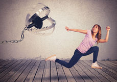 Chased by a trap. Girl runs scared chased by a trap Stock Photos