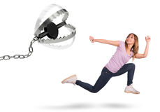 Chased by a trap. Girl runs scared chased by a trap Stock Image