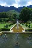 Chashmeshahi Garden Landscape in Srinagar-10. A beautiful scene of a lush green trees with lots of water fountains in a Kashmir in garden Stock Photos