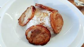 Chashu - μαγειρευμένο χοιρινό κρέας με το ρύζι Στοκ εικόνες με δικαίωμα ελεύθερης χρήσης