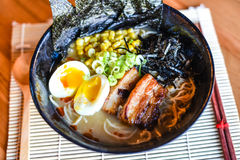 Chashu Pork Miso Ramen. Flavor packed with a blended miso paste. Topped with buttered corn and braised pork belly Stock Images
