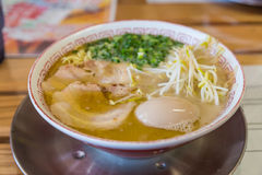Chashu ramen with boiled egg and bean sprout Stock Image