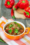 Chashushuli - spicy meat stew with vegetables. Georgian dishes. Chashushuli - spicy meat stew with vegetables royalty free stock images