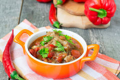 Chashushuli - spicy meat stew with vegetables. Georgian dishes. Chashushuli - spicy meat stew with vegetables stock images