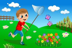 Happy Kid Chasing Butterflies Butterfly Royalty Free Stock Images