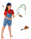 Chasing Butterflies. A barefoot elementary girl chasing Monarch butterflies with a net. Isolated on white royalty free stock image