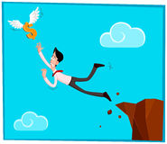 Chasing a dollar. Businessman jumping out from the cliff chasing a dollar Stock Photo