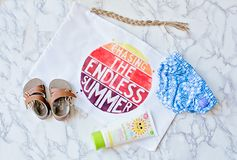 Chasing endless summer message with beach accessories Royalty Free Stock Photography