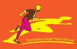 Chasing a Larger Than Life Goal Illustration. Living life fully and chasing after the wildest dream Royalty Free Stock Image