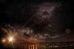 Chasing the milkyway. Milkyway beach midnite panoramic landscape Royalty Free Stock Images