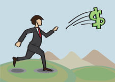 Chasing After Money Metaphor Vector Cartoon Illustration. Vector cartoon illustration of businessman running after an elusive flying dollar sign Royalty Free Stock Image