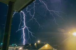 Dangerously Close Branched Lightning in Texas stock photography
