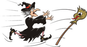 Chasing witch broomstick. Furious witch running for a flying broomstick, to show the language royalty free illustration