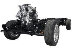 Chasis del coche con el motor Fotos de archivo libres de regalías