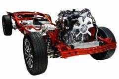 Chasis del coche con el motor Fotos de archivo