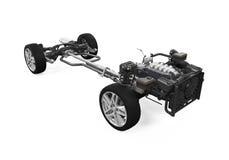 Chasis del coche con el motor foto de archivo