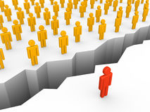 Chasm between human and crowd. 3d render Stock Photo