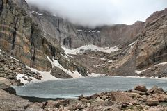 Chasm Lake. Rocky Mountain National Park in Colorado, USA. Frozen Chasm Lake in June Royalty Free Stock Image