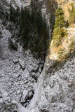 Chasm and steep rocks in Viamala gorge, Thusis, Switzerland Royalty Free Stock Photography