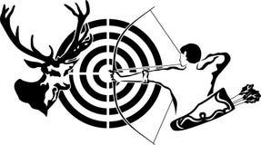 Chassant pour les cerfs communs, l'archer et la cible Photos stock