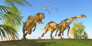 Chasse à dinosaure de Yangchuanosaurus Photos stock