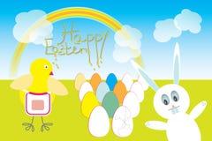 Chasse à lapin de Pâques avec le jeune poussin de bébé Images libres de droits