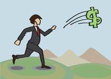 Chasse après illustration de bande dessinée de vecteur de métaphore d'argent illustration de vecteur