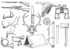 Chasse, augmentant, illustration d'équipement, dessin, gravure, encre, schéma, vecteur illustration libre de droits