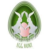 Chasse coupée de papier à oeuf de pâques de concept avec le lapin et les oeufs cachés dans l'herbe Calibre pour la carte postale  illustration de vecteur
