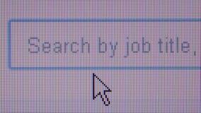 CHASSE de TRAVAIL EN LIGNE - ECU 'Job Hunting' de dactylographie dans la boîte de recherche banque de vidéos