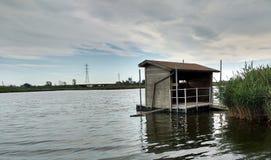 Chasse des abat-jour, crique de Kingsland, rivière de Hackensack, prés, NJ, Etats-Unis Photos libres de droits