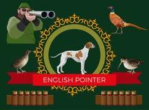 Chasse du vecteur de chien d'arme à feu illustration stock