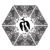 Chasse sauvage Vecteur de couleur foncée de style de Boho Vecteur Mandala With Mythical Animals tribale ethnique Image stock