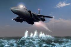 Chasseur au-dessus de l'océan Photos stock