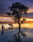 Chasseur de coucher du soleil photo stock