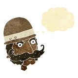 chasseur de grand jeu de victorian de bande dessinée avec la bulle de pensée Photo libre de droits