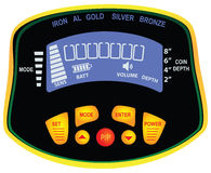 Chasseur de trésor de détecteur de métaux de panneau Photographie stock