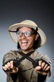 Chasseur drôle de safari Images stock