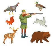 Chasseur et animaux sauvages Image stock