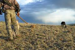Chasseur et chiens de cheminement dans la scène orageuse de désert Photo stock