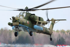 Chasseur RF-13629 de nuit du mil Mi-28N de l'Armée de l'Air russe pendant la répétition de défilé de Victory Day à la base aérien Photo libre de droits