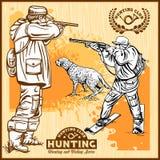 Chasseurs avec des chiens - rétro illustration de Clipart - ensemble de vecteur Image libre de droits