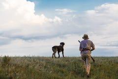 Chasseurs avec une arme à feu et un drathaar allemand Chasse de pigeon avec des chiens S photographie stock