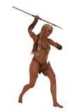 Chasseuse de fille de caverne avec la lance en pierre Images stock