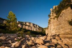 Chassezac峡谷在Ardeche的,法国 免版税库存照片