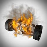 Chassi ardente do carro com motor e rodas Imagens de Stock