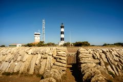 Phare de Chassiron. Island D`Oleron in the French Charente with striped lighthouse. France. Top of the lighthouse with signal lens. The Chassiron lighthouse stock images