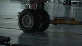 The chassis of the aircraft call in the hangar. The hangar is open for aircraft entry 2 stock video