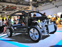 Chassis of BMW i3 urban electric car on display at BMW World 2014 Stock Photography